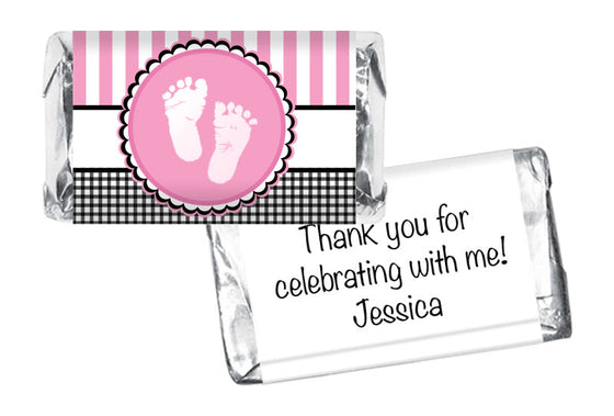 Sweet Baby Feet Girl Baby Shower Mini Bar Wrappers