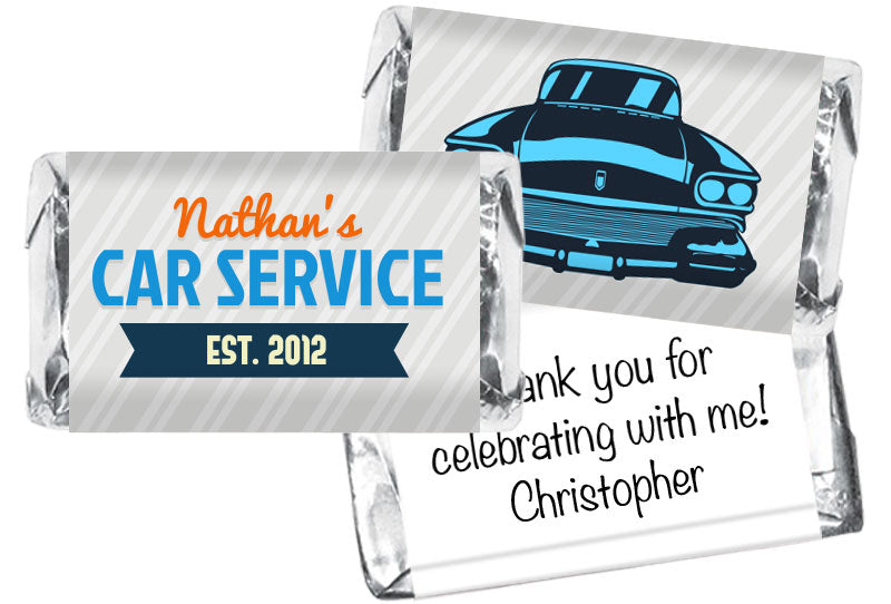 Retro Car Service Boy Birthday Mini Bar Wrappers