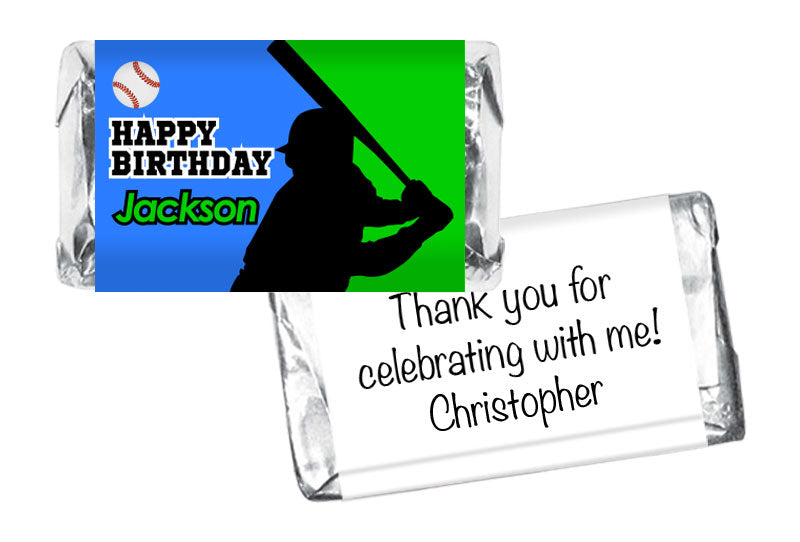 Baseball Silhouette Boy Birthday Mini Bar Wrappers