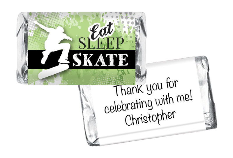 Eat Sleep Skate Boy Birthday Mini Bar Wrappers