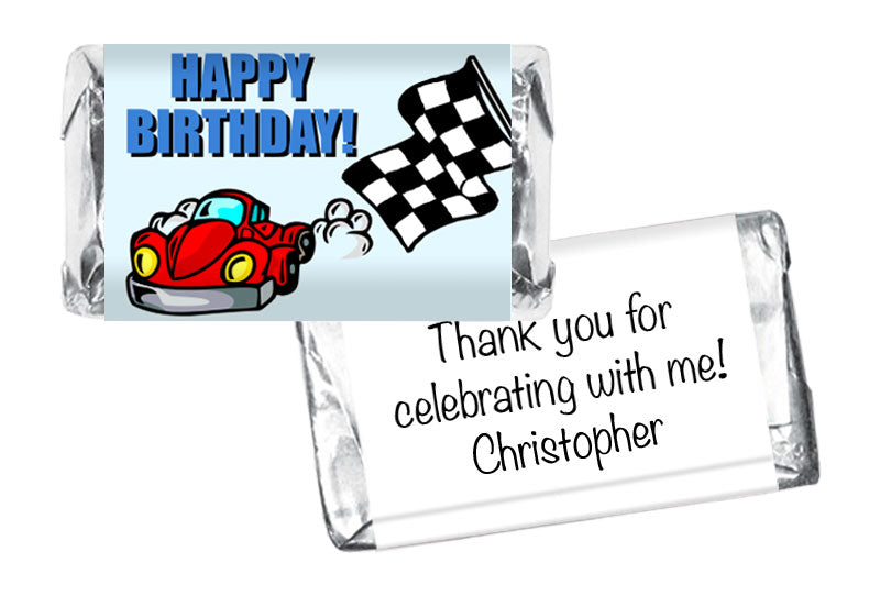 Racecar Boy Birthday Mini Bar Wrappers
