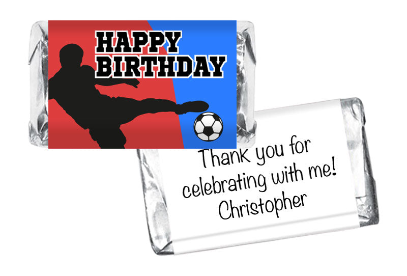Soccer Silhouette Boy Birthday Mini Bar Wrappers