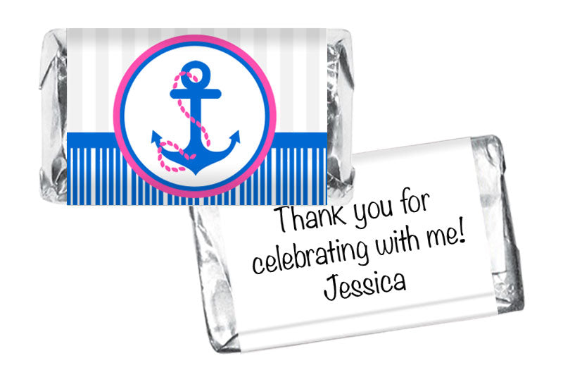 Nautical Anchor Girl Birthday Mini Bar Wrappers