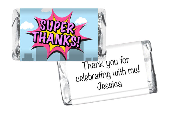 Super Thanks! Super Hero Girl Birthday Mini Bar Wrappers