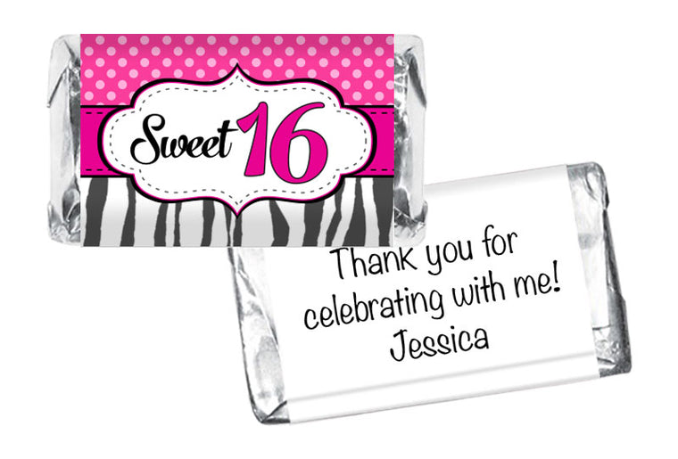 Sweet 16 Girl Birthday Mini Bar Wrappers