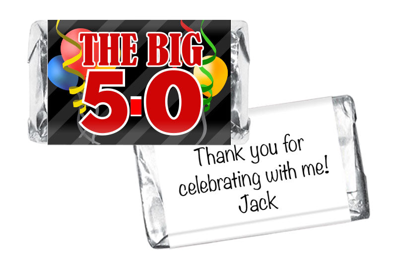 The Big 5-0, any age Adult Birthday Mini Bar Wrappers