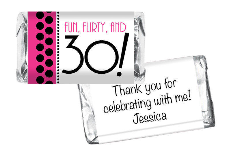 Fun Flirty and 30, 40, 50 any age Adult Birthday Mini Bar Wrappers