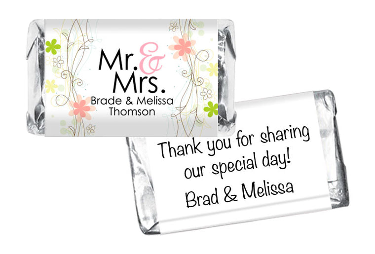 Mr and Mrs Floral Wedding Mini Bar Wrappers