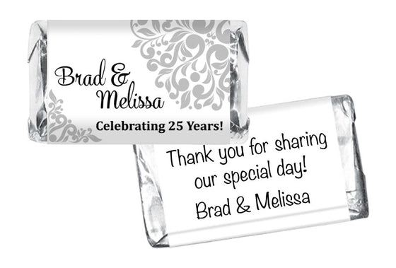 Silver Wedding Anniversary Mini Bar Wrappers