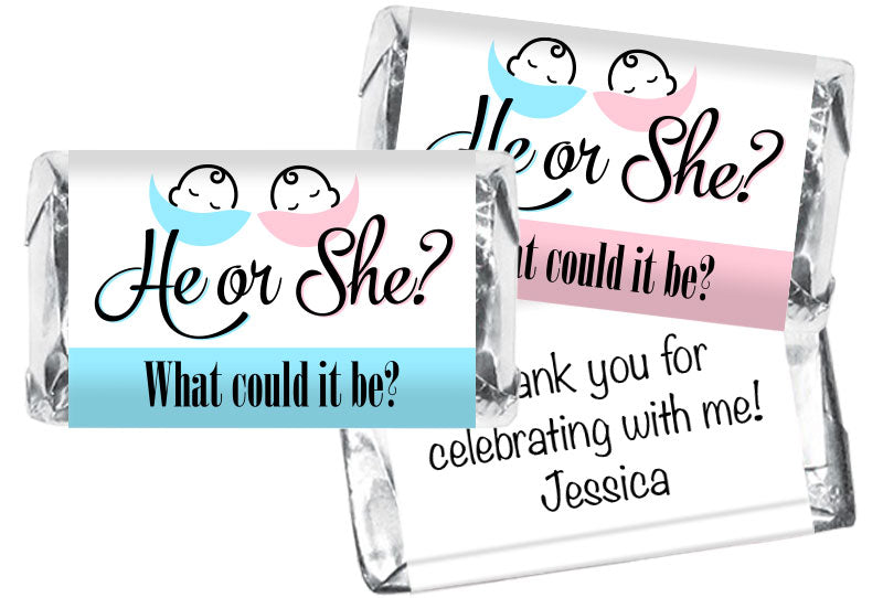 He or She? Gender Reveal Mini Bar Wrappers