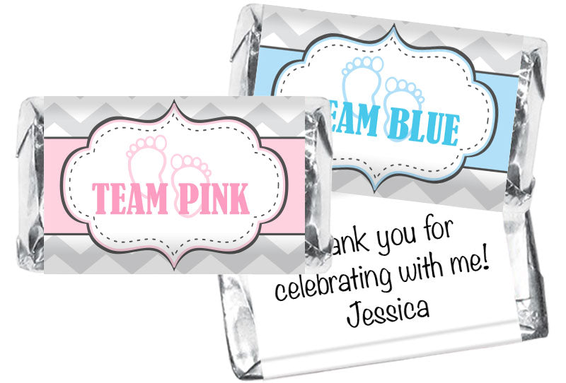Team Pink Team Blue Chevron Gender Reveal Mini Bar Wrappers