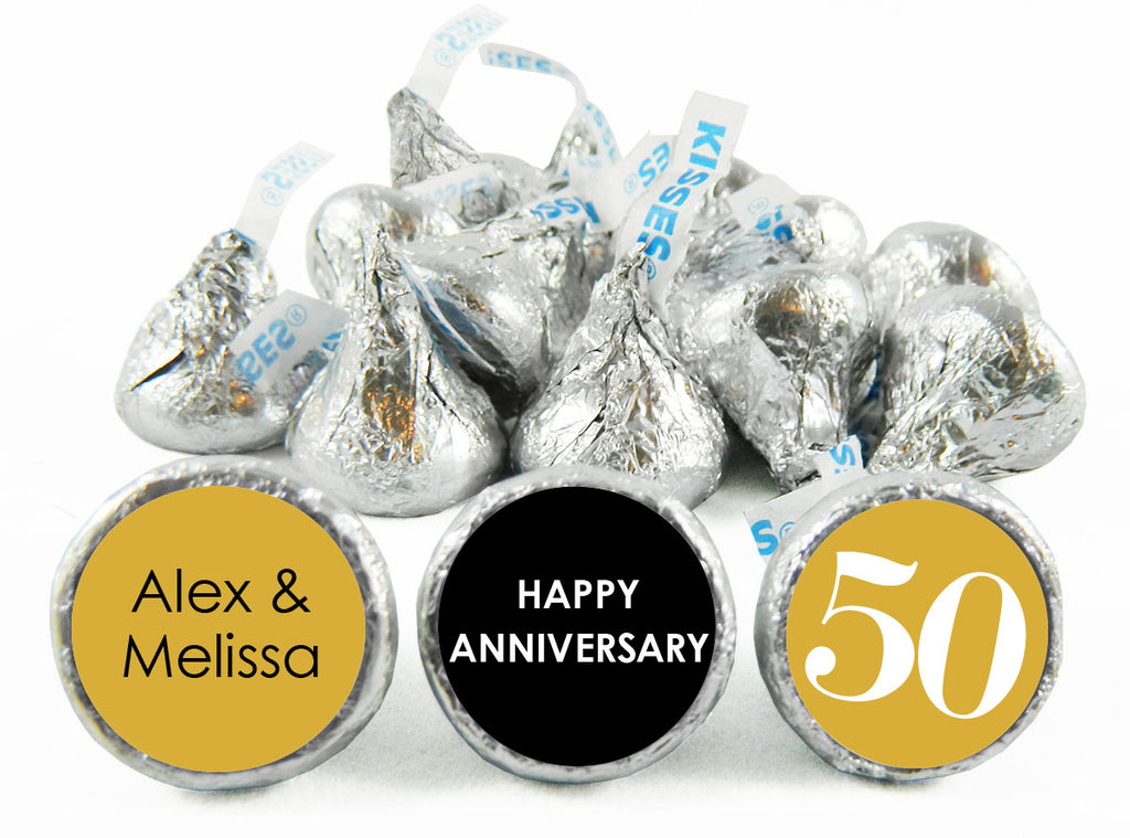 Gold 50th Wedding Anniversary, any year, Labels for Hershey's Kisses