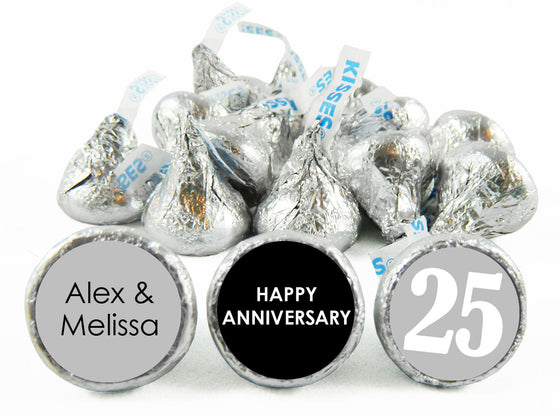 Silver 25 Year Wedding Anniversary, any year, Labels for Hershey's Kisses