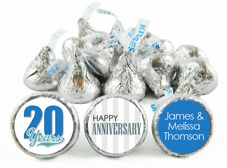 Happy Anniversary Stripes Labels for Hershey's Kisses