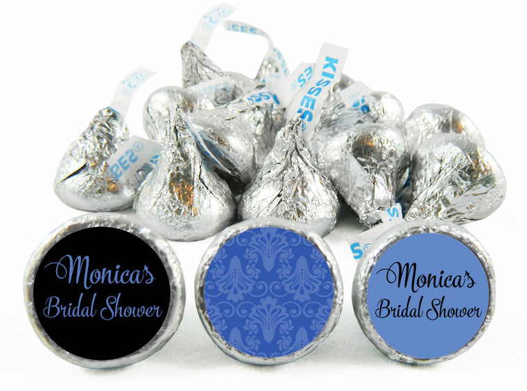 Blue Paisley Bridal Shower Labels for Hershey's Kisses