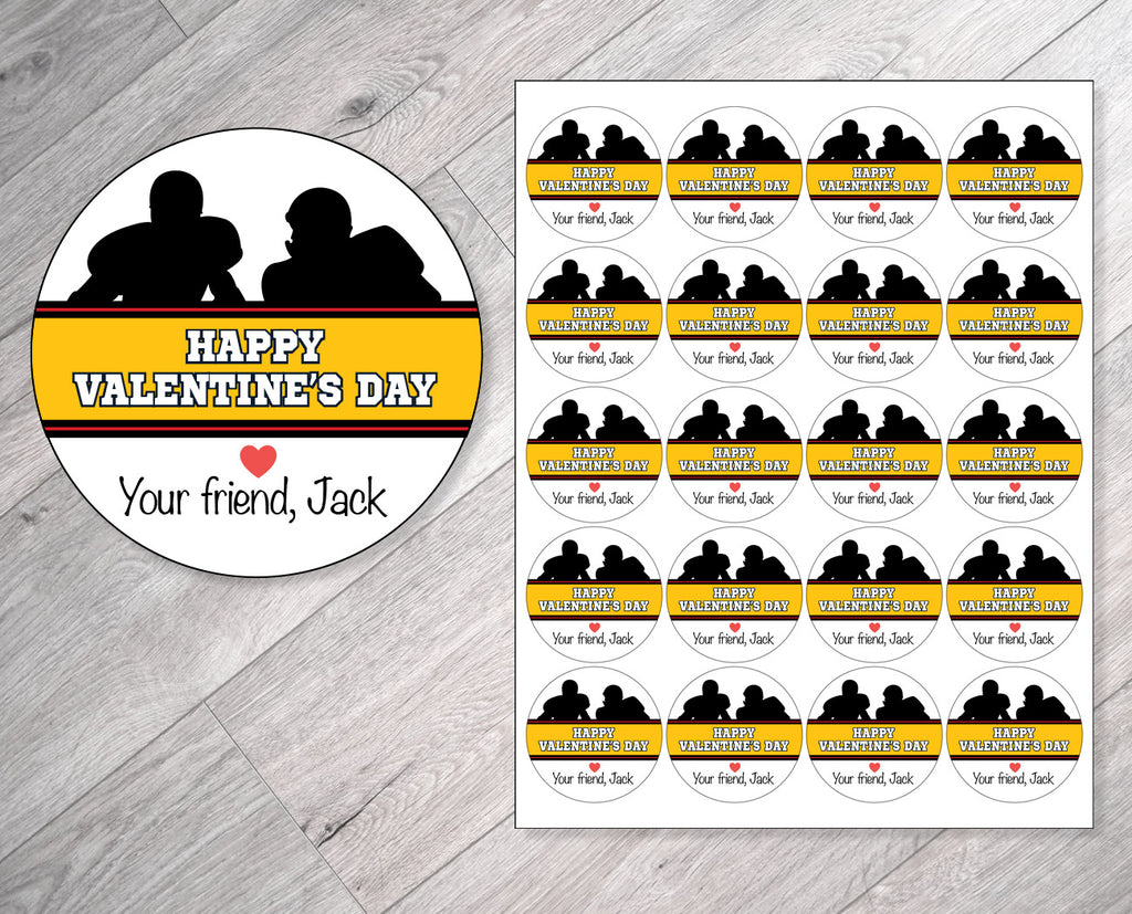 Black, Gold and Red Football Personalized Valentine's Day Stickers