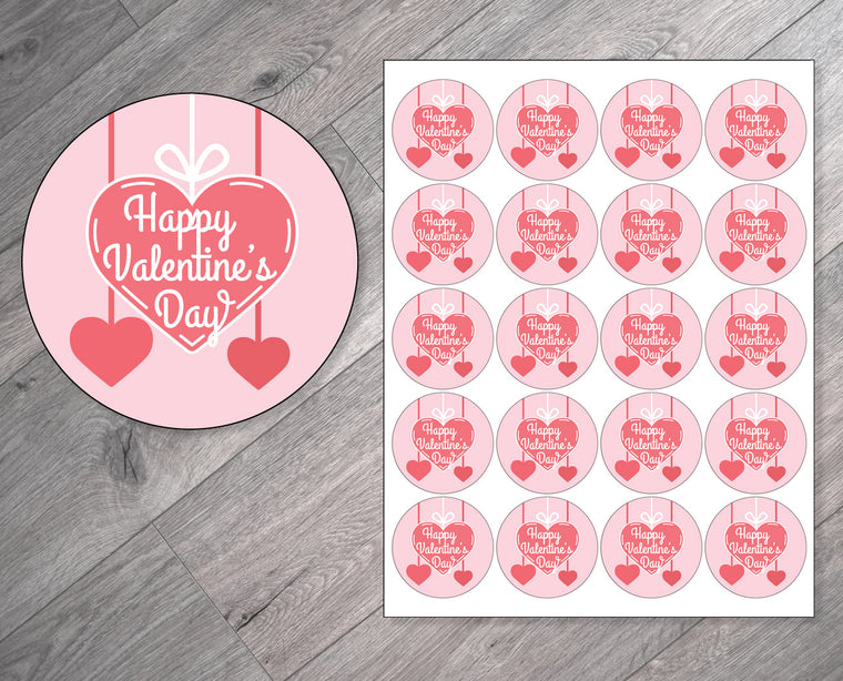 Hanging Hearts Personalized Valentine's Day Stickers
