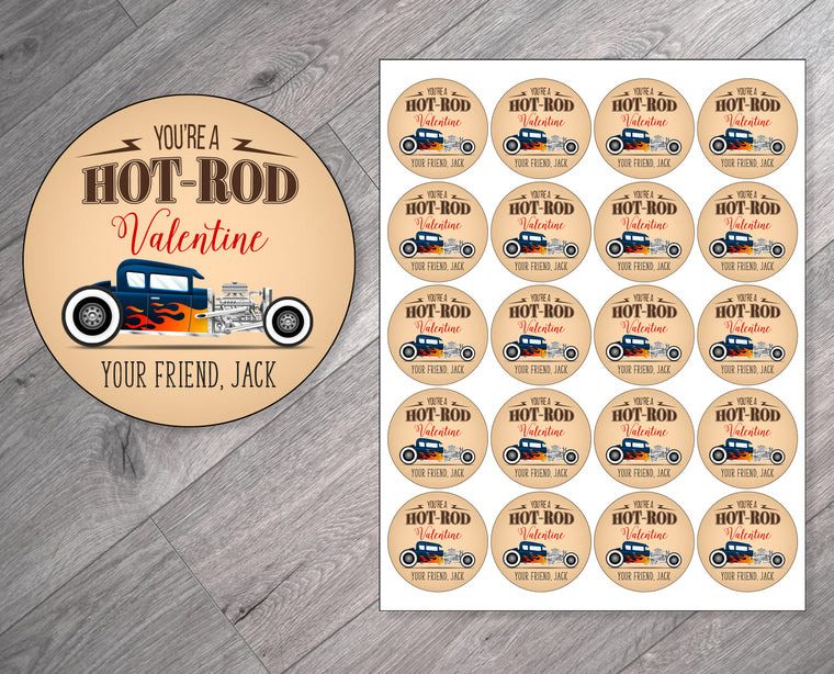 Hot-Rod Racecar Personalized Valentine's Day Stickers