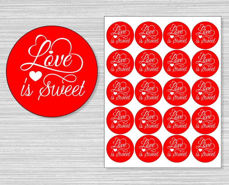 Red Love is Sweet Valentine's Day Stickers