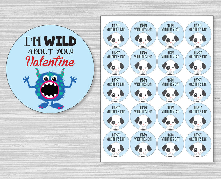 I'm Wild About You Valentine's Day Stickers