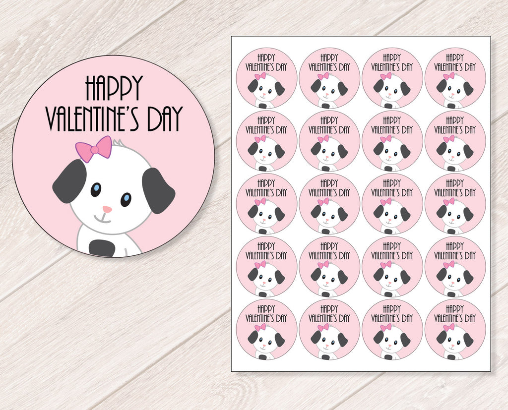 Pink Puppy Valentine's Day Stickers