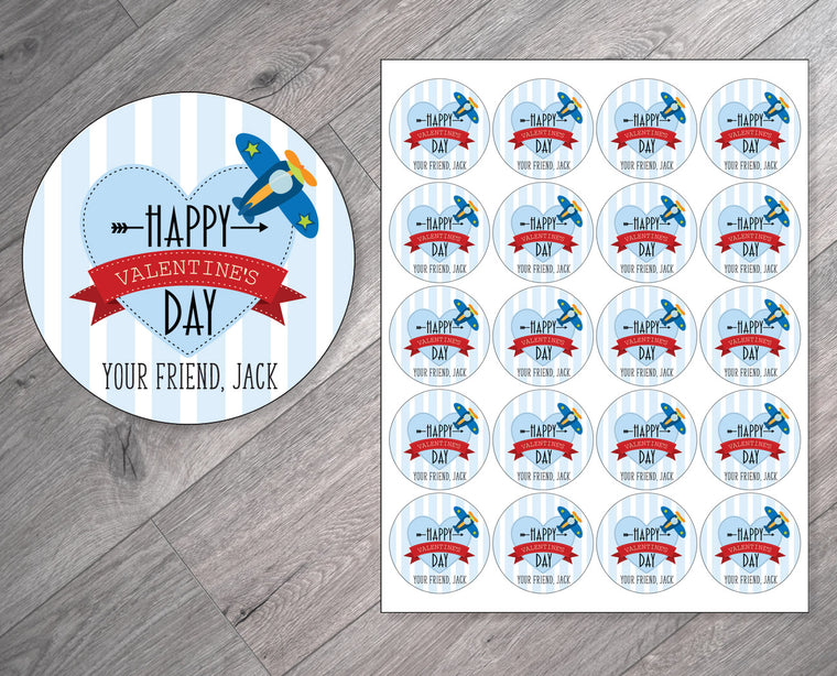 Airplane Personalized Valentine's Day Stickers