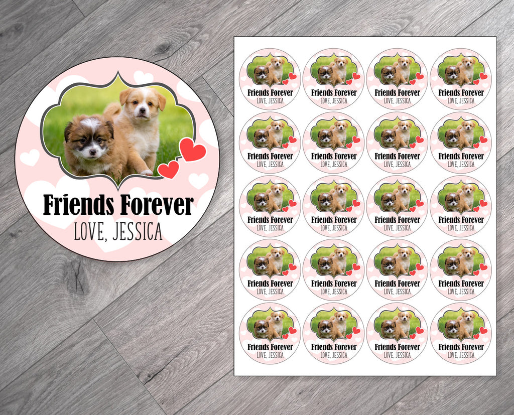 Friends Forever Puppy Theme Personalized Valentine's Day Stickers
