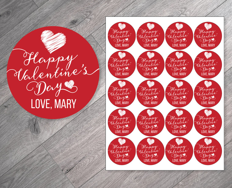 Script on Red Personalized Valentine's Day Stickers
