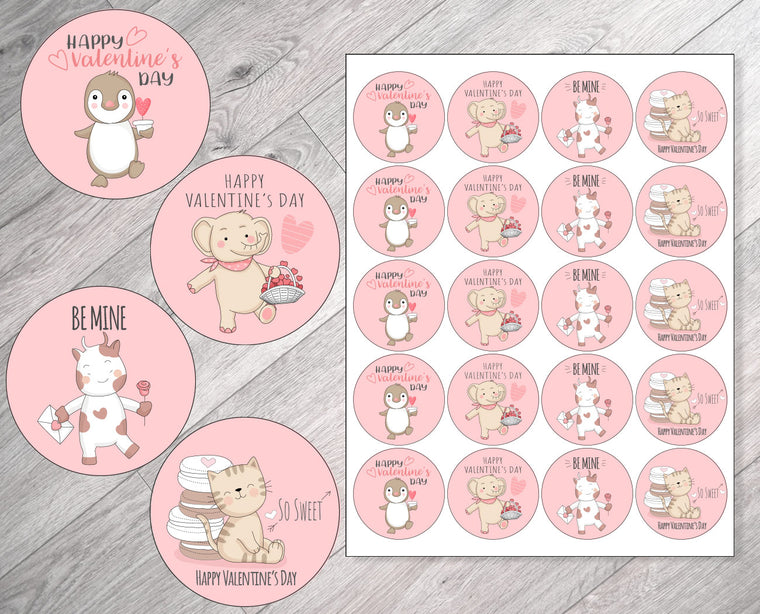 Cute Animal Valentine's Day Stickers