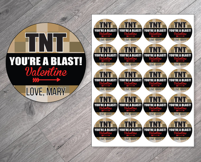 TNT You're a Blast Personalized Valentine's Day Stickers