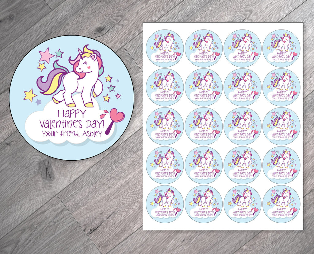 Unicorn Theme Personalized Valentine's Day Stickers