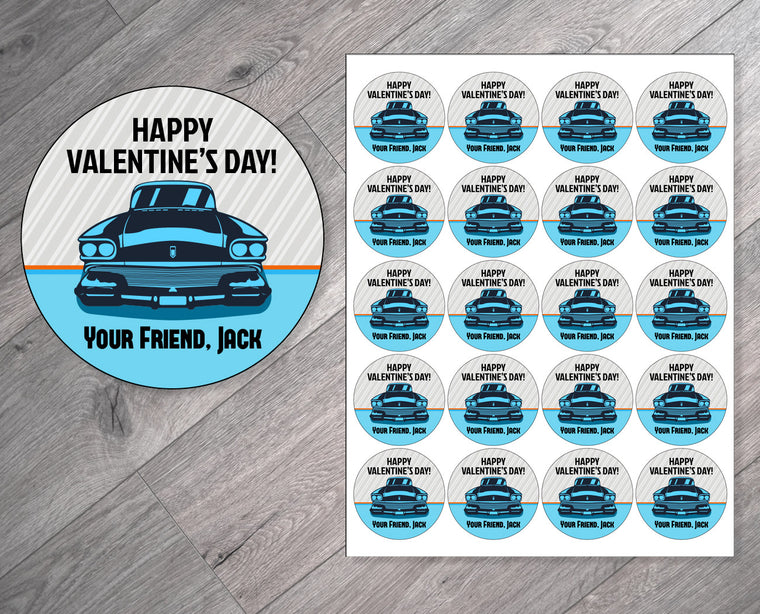 Blue Retro Car Personalized Valentine's Day Stickers