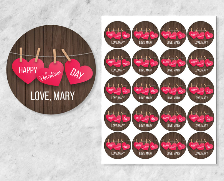 Hanging Hearts on Wood Personalized Valentine's Day Stickers