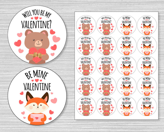 Woodland Creatures Valentine's Day Stickers