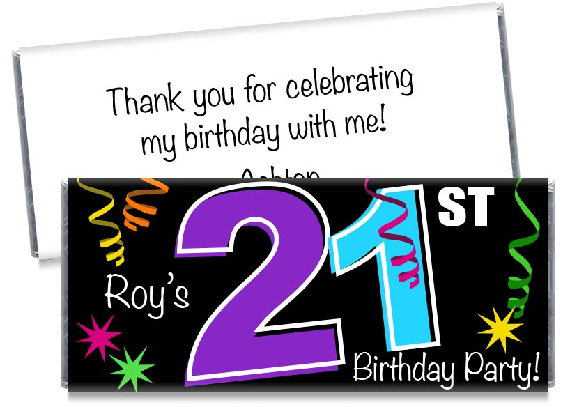 Streamers, any age, Adult Birthday Party Candy Bar Wrappers