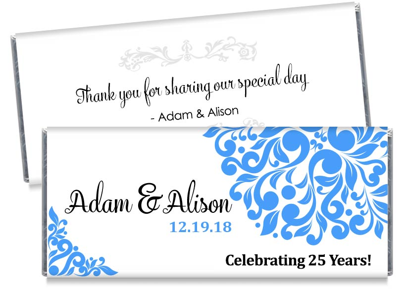 Silver Wedding 25th Anniversary, any year, Anniversary Candy Bar Wrappers