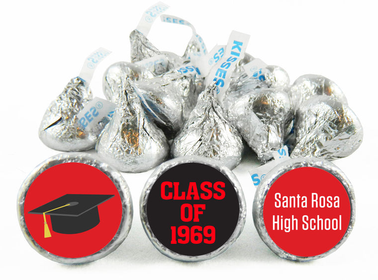 Grad Hat School Reunion Labels for Hershey's Kisses