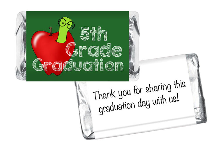 Apple Worm Elementary Class Graduation Mini Bar Wrappers