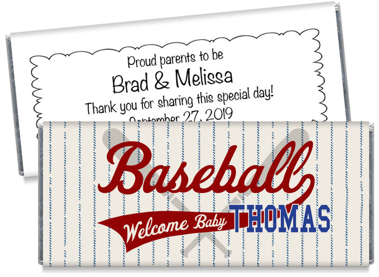 Retro Baseball Boy Baby Shower Candy Bar Wrappers
