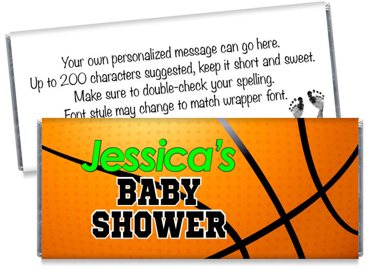 Large Basketball Boy Baby Shower Candy Bar Wrappers
