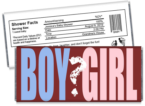 Boy or Girl Gender Reveal Baby Shower Candy Bar Wrappers