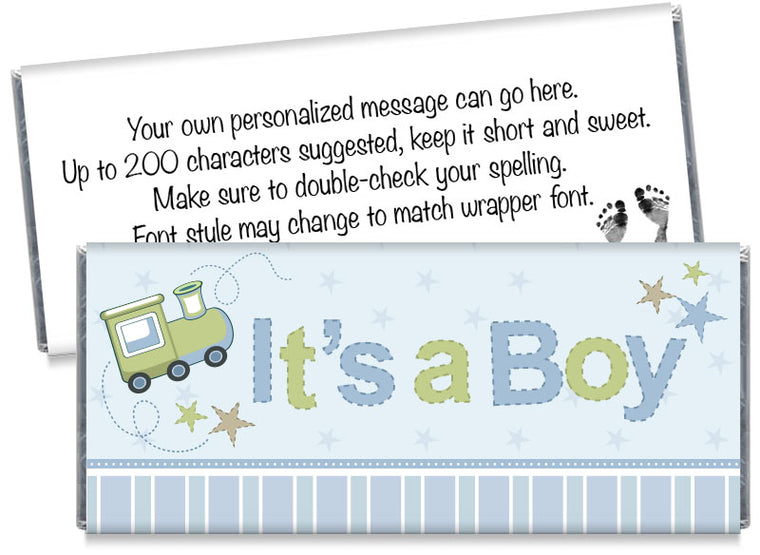 It's a Boy Train Baby Shower Candy Bar Wrappers