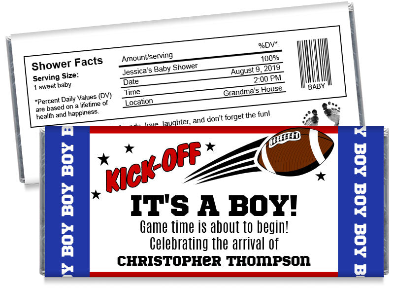 Kick-Off Football Boy Baby Shower Candy Bar Wrappers