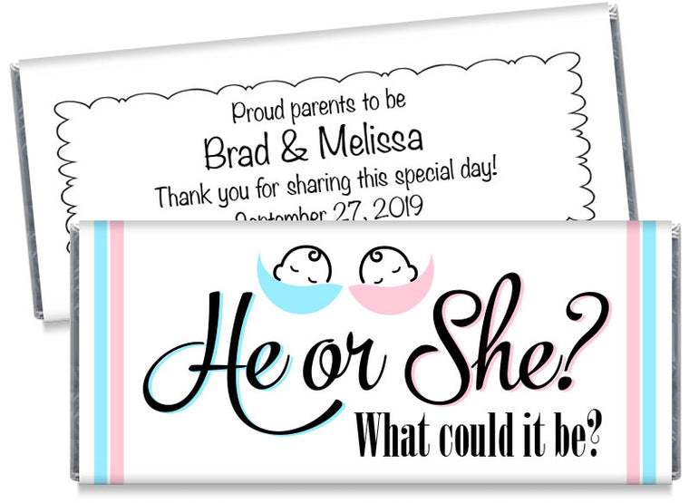 What Could it Be? Gender Reveal Party Candy Bar Wrappers
