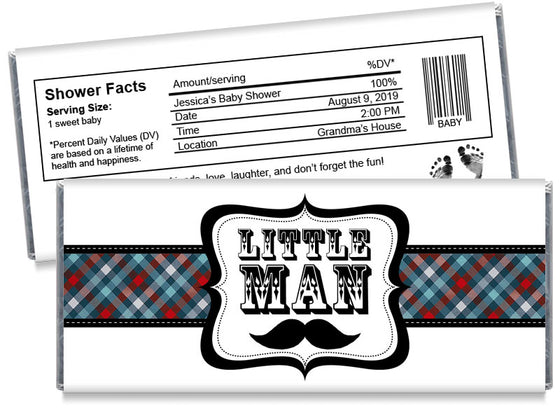 Little Man Boy Baby Shower Candy Bar Wrappers