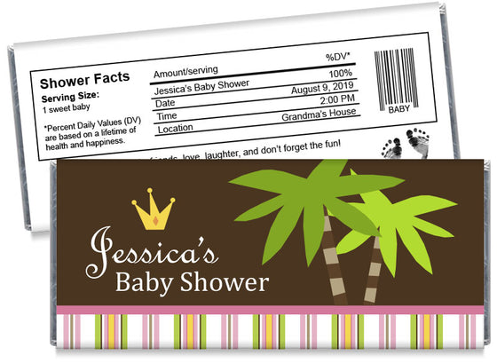Jungle Princess Girl Baby Shower Candy Bar Wrappers