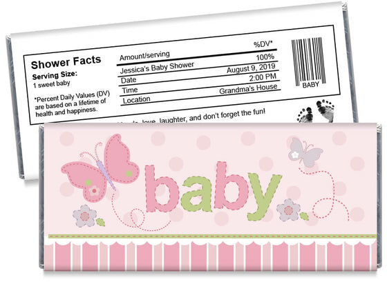 """baby"" Butterfly Girl Baby Shower Candy Bar Wrappers"