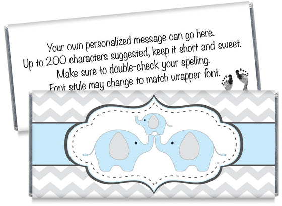 Chevron Elephant Boy Baby Shower Candy Bar Wrappers