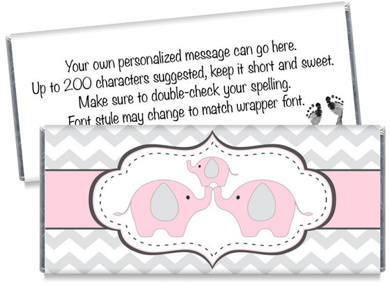 Chevron Elephant Girl Baby Shower Candy Bar Wrappers