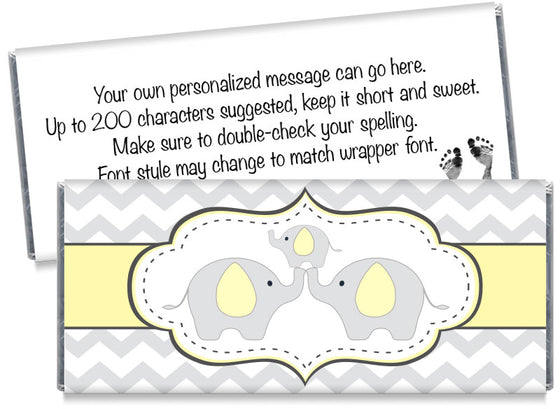 Chevron Elephant Baby Shower Candy Bar Wrappers
